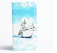 Sky Ships Pattern PU Leather Cover with Stand and Card Slot for iPhone 6