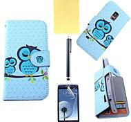 cubierta de cuero de la PU de búho con ranura para tarjeta con lápiz táctil y la película protectora para mini samsung galaxy s5
