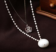 Contracted Fashion Elegant Double Layers Pearl Pendant Long Necklace
