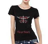 strass personalizzato t-shirt croce con cotone maniche corte ali del modello delle donne