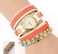 Personalized Gift  Women's Three-Layer Wrap PU Leather Bracelet Analog Engraved Geneva Watch  with Rhinestone