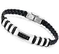 Fashion 22cm Men Black Leather Stainless Steel Bracelet