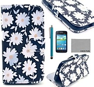 COCO FUN® White Chrysanthemum Pattern PU Leather Case with Film and Stylus for Samsung Galaxy Core GT-I8260 I8262