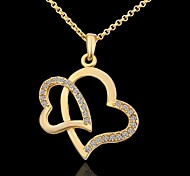 Ms Creative Heart Gold Plated Diamond Necklace