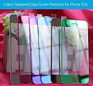 Front  Colors Tempered Glass Screen Protector With Microfiber Cloth  for iPhone 5 / 5S /5C - (Assorted Colors)