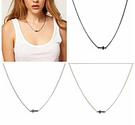 Fashion Women Polished Cross Pendant Necklace