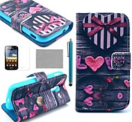 COCO FUN® Love Heart Pattern PU Leather Case with Screen Protector, Stylus and Stand for Samsung Galaxy Ace 2 i8160