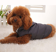 Dog Coat Vest Gray Dog Clothes Winter Solid Keep Warm