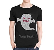 Personalized Rhinestone T-shirts Halloween Ghost Pattern Men's Cotton Short Sleeves