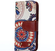 Sunflower Pattern Oxhide Character Retro PU Leather Case for iPhone4/4S