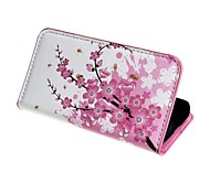 Plum Blossom PU Leather Case Cover with Stand and Card Slot for Samsung Galaxy Ace 4 G313H