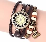 Women's Vintage Style Cherry Pendant Leather Band Quartz Analog Bracelet Watch (Assorted Colors)