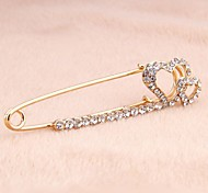 Korean Version Sweet Alloy Rhinestone Double Hearts Pin Brooch