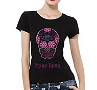 Customized T-shirts Pink Skull Pattern Women's Cotton Short Sleeves