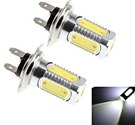 Cob de 2pcs h7 7.5W 600lm 6000k 5x lumière LED blanche pour lampe phare de voiture / de brouillard (dc 10-30)