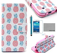 COCO FUN® Pink Pineapple Pattern PU Leather Case with Screen Protecter and Stylus for Samsung Galaxy S4 Mini i9190