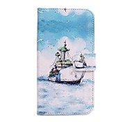 Sea Ship Pattern PU Leather Cover with Stand and Card Slot for LG G2