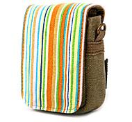 Colorful Stripe Canvas Digital Camera Bag with Shoulder&Waist Strap[Rainbow]