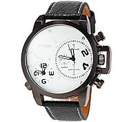 reloj de hora dual cuarzo banda zonas de piel para caballero (colores surtidos)