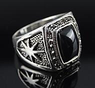 punky de la vendimia de la aleación de plata anillo de los hombres de resina negro