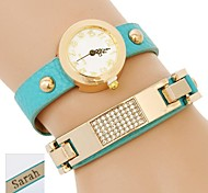 de duas camadas envoltório pu pulseira de couro analógico das mulheres personalizadas do presente do relógio gravado com strass