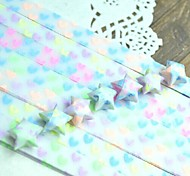 30 PCS Fluorescent Effect Heart Pattern Lucky Star Origami Materials (Random Color)