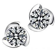 Fine Jewelry 925 Sterling Silver Zircon Earring Stud 1 Pair
