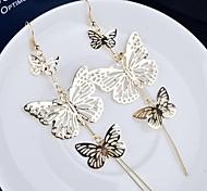 European (Multilayer Butterfly Lace)  Alloy Drop Earrings