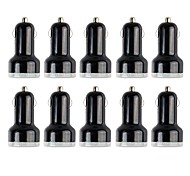 Packed Professional Dual USB Car Charger Adapter with 10 Pieces Packed for iPad and Others (5V 2.1A)