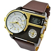 Fashion Men Military Watch Genuine Leather Hours Steel Case 30ATM Waterproof Sports Digital Watches (Assorted Color)