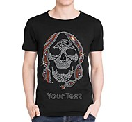 Personalized Rhinestone T-shirts Skull Pattern Men's Cotton Short Sleeves