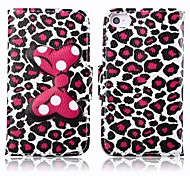 Bow and Leopard Print PU Leather Full Body Cover with Stand and Card Slot for iPhone 4/4S