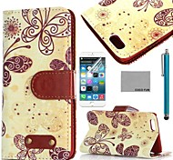 COCO FUN® Yellow Butterfly Pattern PU Leather Full Body Case for iPhone 6 6G 4.7 with Screen Protecter, Stand and Stylus