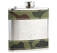Stainless Steel + Leather Curved Pocket Liquor Flask (4.0 oz)