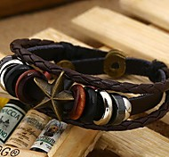 Lureme®Vintage Alloy Starfish Shape Genuine Leather Beads Knitting Bracelet