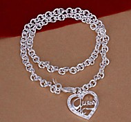 collana pendente in argento 925 a forma di cuore ciondolo lettera (1pc)