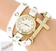 de tres capas analógico pulsera del abrigo del cuero de la PU de las mujeres de regalo personalizado grabado reloj cruz con diamantes de imitación