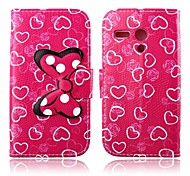 Dark Pink Hearts Pattern PU Leather Full Body Case with Stand for Motorola MOTO G