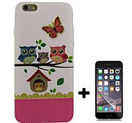 Cartoon Owl Pattern Soft TPU with Screen Protector Case Cover for iPhone 6/6S