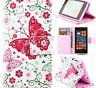 Wallet Style Pink Butterfly PU Leather Full Body Cover with Stand for Nokia Lumia 520