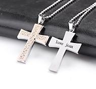 personalisiertes Geschenk, Kreuzformen Edelstahl-Schmuck eingraviert Halskette mit 60cm Kette