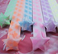 2x 30 PCS  Fluorescent Effect Heart Pattern Lucky Star Origami Materials (Random Color)