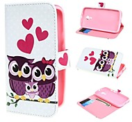 Three Owls and Hearts Wallet PU Leather Case Cover with Stand and Card Slot for Motorola Moto G2 XT1063 Dual Sim
