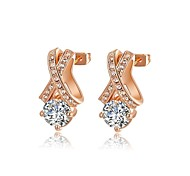 Fashion 18K Rose Gold Plated Jewelry Use Shining Clear Austria Crystal Simulated Diamond Waterdrop Earrings