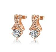 18k de mode plaqué or rose utilisation de bijoux brillant clair autriche cristal simulé diamant boucles d'oreilles goutte d'eau