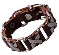 Lureme®Vintage Punk Alloy Inset Genuine Leather Hip-hop Bracelet