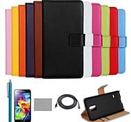 coco Fun® Luxus ultra slim einfarbig Tasche aus echtem Leder mit Film, Kabel und Stylus für Samsung Galaxy i9600 s5
