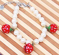 Cute Strawberry Pattern Pearl Necklace for Pet Dogs