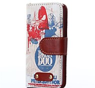 Band Pattern Oxhide Character Retro PU Leather Case for iPhone4/4S
