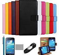 coco Fun® Luxus ultra slim einfarbig Tasche aus echtem Leder mit Film, Kabel und Stylus für Samsung Galaxy S4 i9500